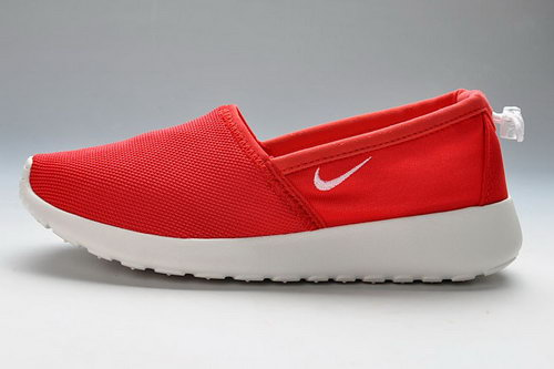 Nike Roshe Run Slip On Women Trainers Red White Outlet Online